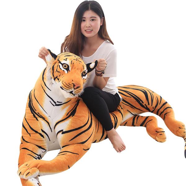 Dorimytrader Jumbo Realistico Animal Tiger Peluche Simulazione gigante Brown Tiger Toys Teaching Pops Decorazione Regalo 67 pollici 170cm DY50634