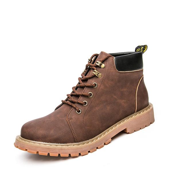 Brand Super Warm Men's Winter Leather Men Waterproof Rubber Snow Boots Leisure Boots England Retro Shoes For Men Big Size