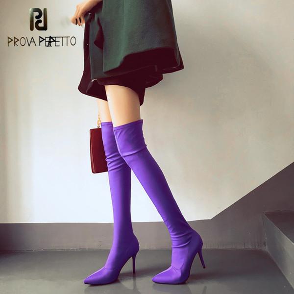 Prova perfetto Color Caramelo Púrpura Sobre La Rodilla Botas Mujeres Punta sexy Punta estrecha Muslo Botas Altas Calcetín Elástico Botas Largos