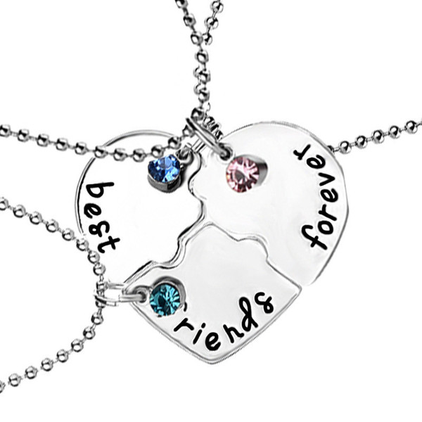 Nuevo Corazón Roto Azul / azul cielo / rojo Collar de diamantes de Imitación Mejores Amigos Para Siempre 3 Unids Empalme Collar Regalos de Amistad