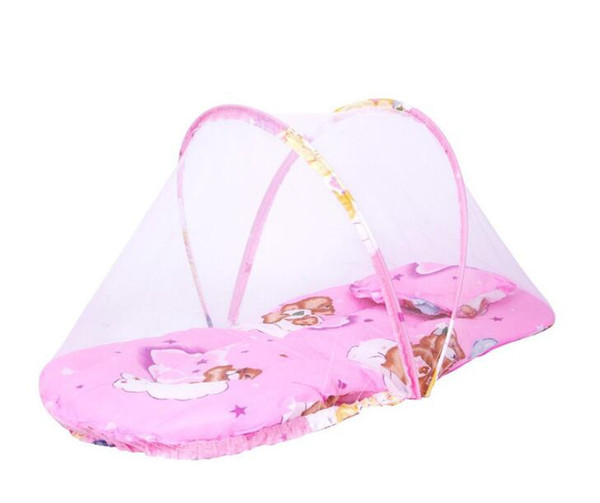 Baby Mosquito Net Tent Portable Foldable Baby Kids Infant Bed Dot Zipper Mosquito Net Tent Crib Sleeping Cushion