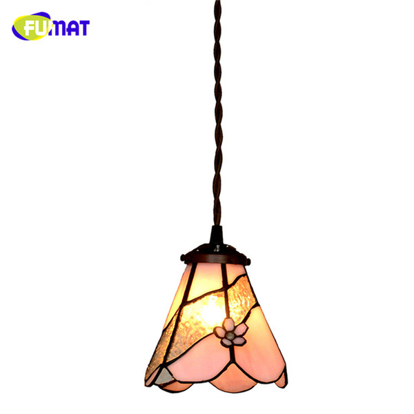 FUMAT Stained Glass Pendant Lights Pink Flower Glass Art Shade Lampe Living Room Light Fixture Kitchen Dining Room Pendant Lamp