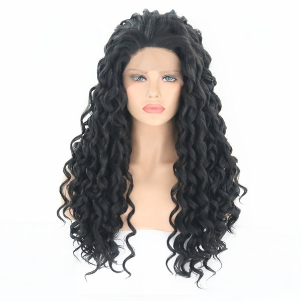 Soft 180% Heavy Density Kinky Curly Wig Black Color Synthetic Lace Front Wig Baby Hair Heat Resistant Hair Full Wigs For Black Women