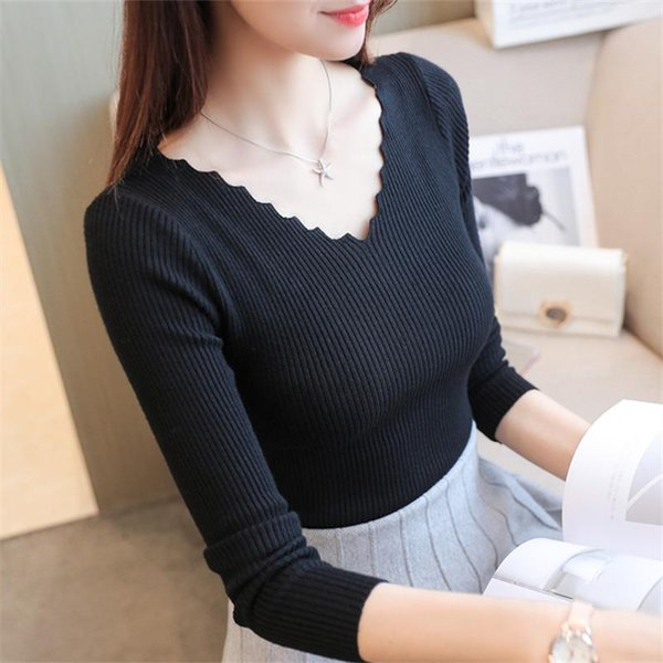 2017 nouveau sexy col en V Pull Pull Pull en maille à manches longues Tops femmes Casual Shirt Pull Dropshipping