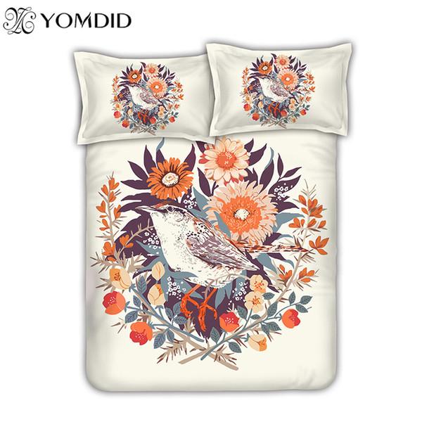 Set biancheria da letto europea pastorale 3D stampa birdflower Biancheria da letto biancheria da letto per ragazza copripiumino in cotone Twin / Queen size bedding set