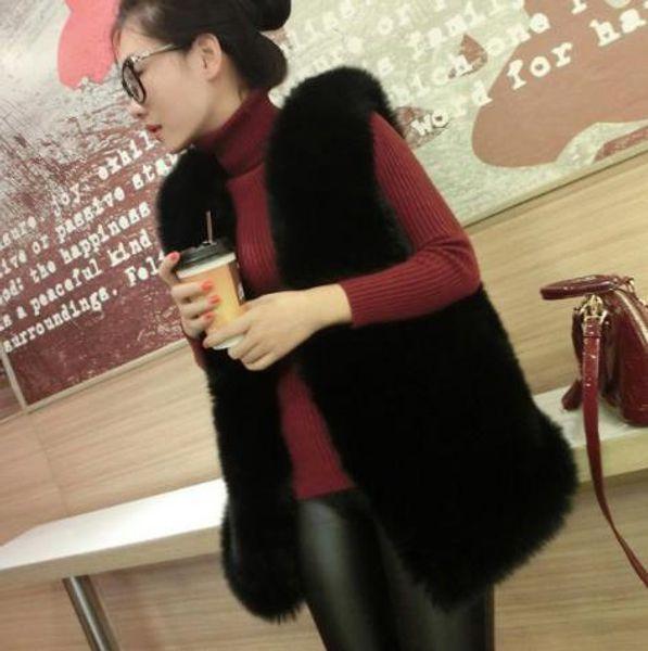 Furry 2020 Manteau en fausse fourrure d'hiver femme artificielle gilet de fourrure de fourrure Gilets Vestes Femme Plus Size Faux Gilet Z263