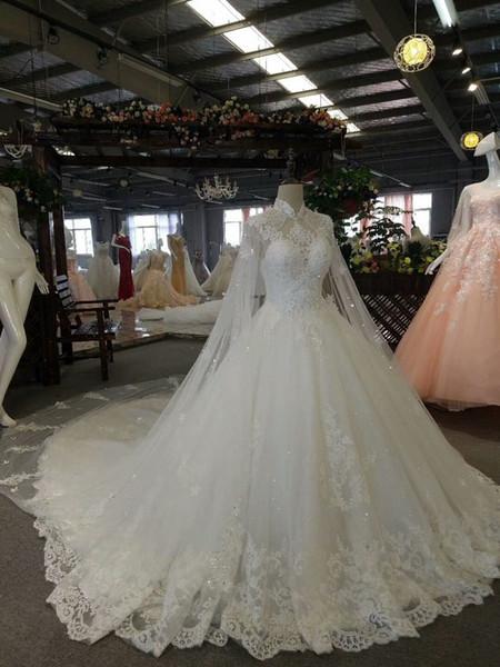 Luxuoso Alta Pescoço Uma Linha Pérolas Beading Cristais Lace Applique Lace Up Casamento Dreses Com Envoltório Pregas Custom Made Nupcial Vestidos De Casamento