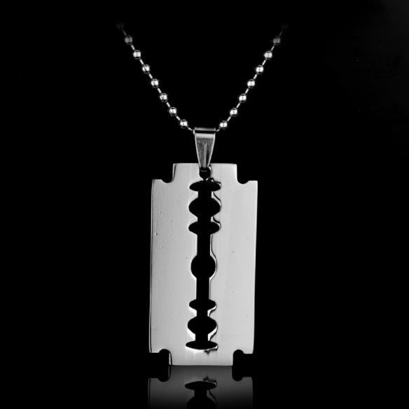 Stainless Steel Hollow Razor Blade Necklace Women Men Geometric Mens Necklaces for Everyday Jewelry Personalized Gifts