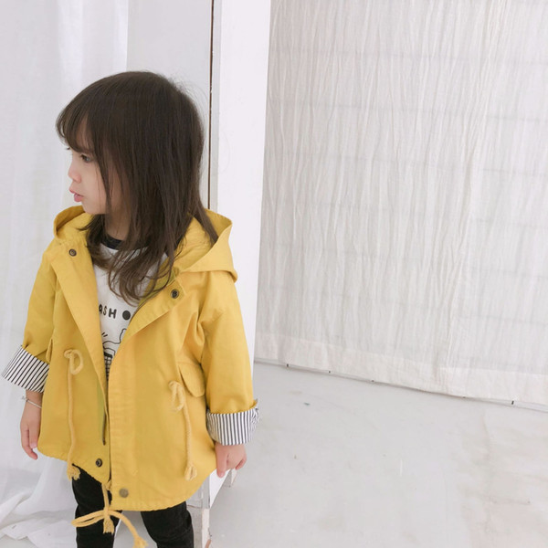 best selling Children Trench Coats For Girls Long Windbreaker Children Clothing Fall Hooded Kids Clothes School Outfits yellow
