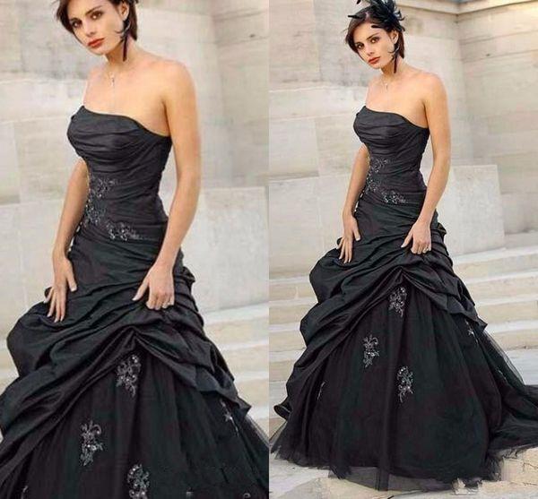 Black Gothic Wedding Dresses 2020 Custom Made Sweep Train A-Line Pleats Applique Tulle Taffeta Strapless Bridal Gowns Vestidos de Novia
