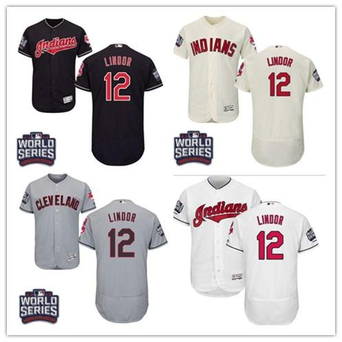 huge discount 12ed5 76a0b 2019 Cleveland #12 Francisco Lindor Jersrys Indians Men#WOMEN#YOUTH#Men'S  Baseball Jersey Majestic Stitched Professional Sportswear From ...