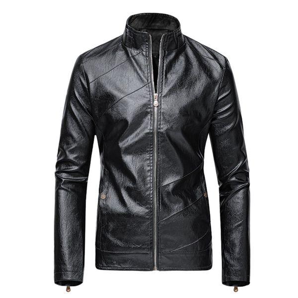 Revestimento dos homens Sólidos Moda Outono-Inverno Casual Leather Jacket Brasão Biker Motorcycle Zipper Top manga comprida Blusas