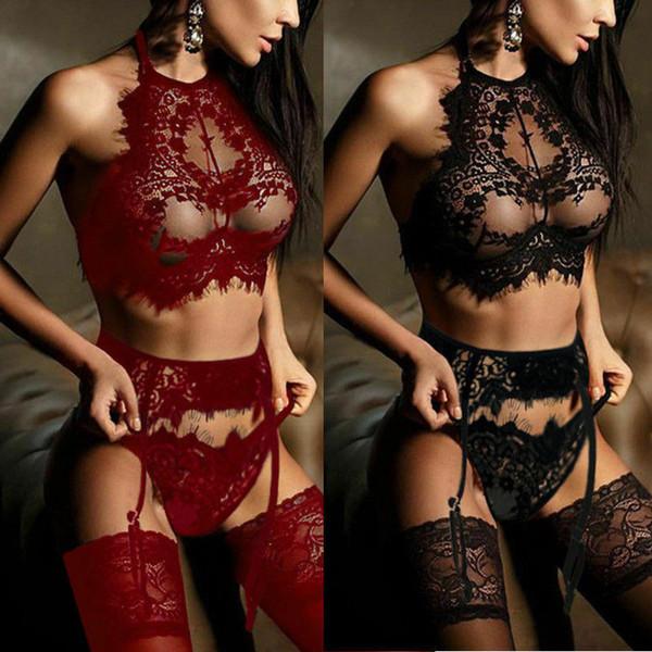 Le nuove donne Lace Sexy Lingerie reggicalze Dress Bra G-stringa della biancheria intima biancheria da notte Babydoll Sleepwear Set Esotico