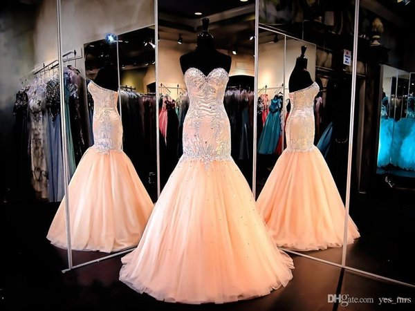 Hot Sexy Evening Dresses Wear Sweetheart Crystal Beads Mermaid Peach Tulle Long Corset Back Formal Vestidos Cheap Prom Party Gowns