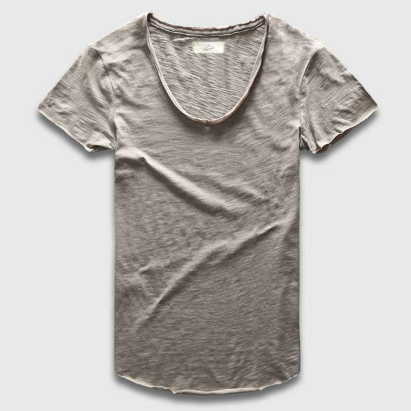 Zecmos Plain Basic Top Tees Men Casual Deep V Scoop Neck T-Shirt Male Slim Fit T Shirt Luxury Curved Hem Navy Tee Muscle