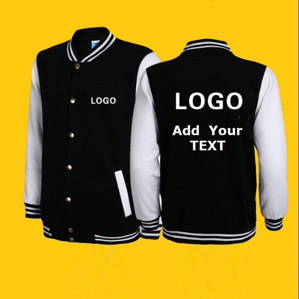 Customize Print Logo College Baseball Jacket Men Women Letterman Varsity Coat 10 Colors Advertising Ourwear Boy Girl