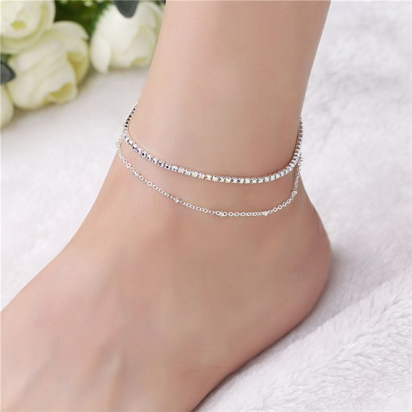 Gold Star Charm Anklet Boho Beach Cute Tiny Lucky rhinestone Foot Chain Ankle Bracelet Silver Beaded Chain Anklet for Women