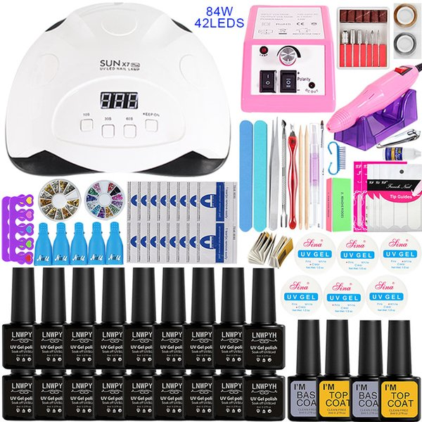 Nail Set with 84/54/36W UV LED Nail Lamp Optional 18/10Color Gel Polish with Base Top Coat Extension Gel Electric drill kit