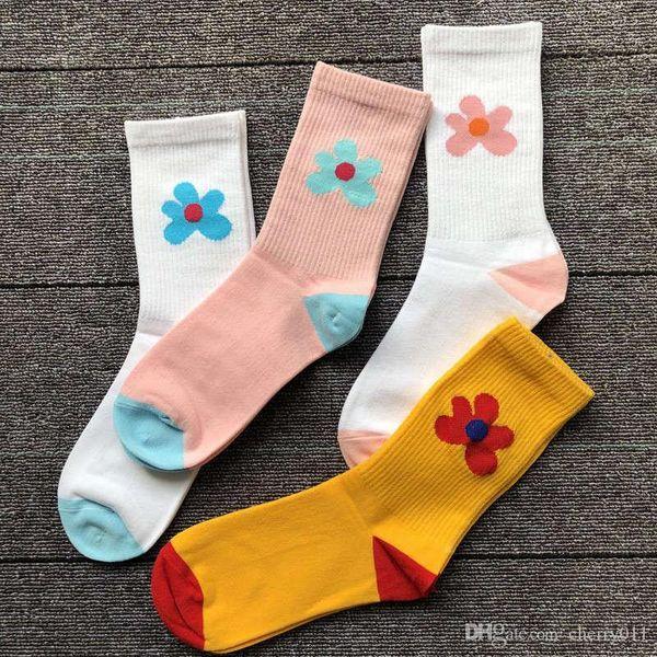 Цветочек носки четыре цвета цветы южнокорейский Хен я стиль весна и лето скейтборд улица тенденция носки в трубке носки Женские ИНС прилив