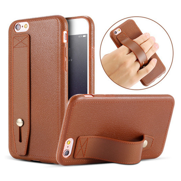 New fashion case for Iphone xs max xr x 8 7 6 plus cell phone case with hidden kickstand leather texture tpu soft back cover