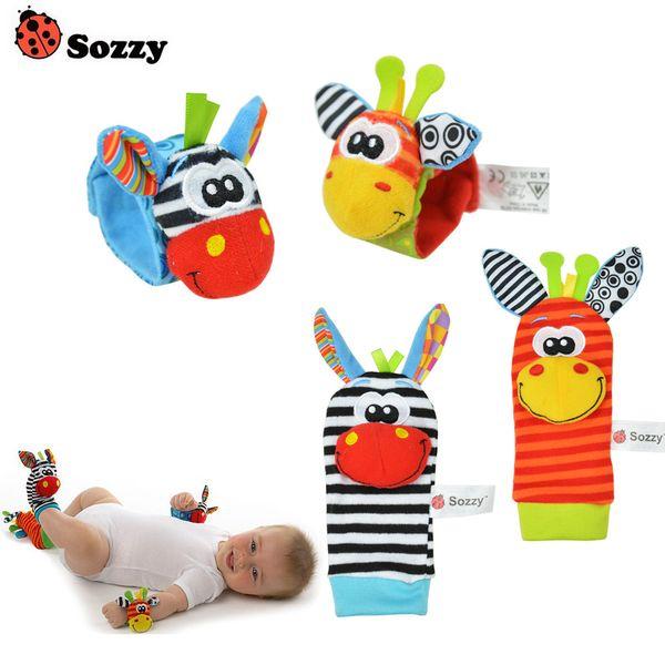40 шт. / Лот Детские игрушки Sozzy Garden Bug погремушки и ноги носки 4 стиля (2 талии + 2 шт. Носки) (10 комплект) Q190604