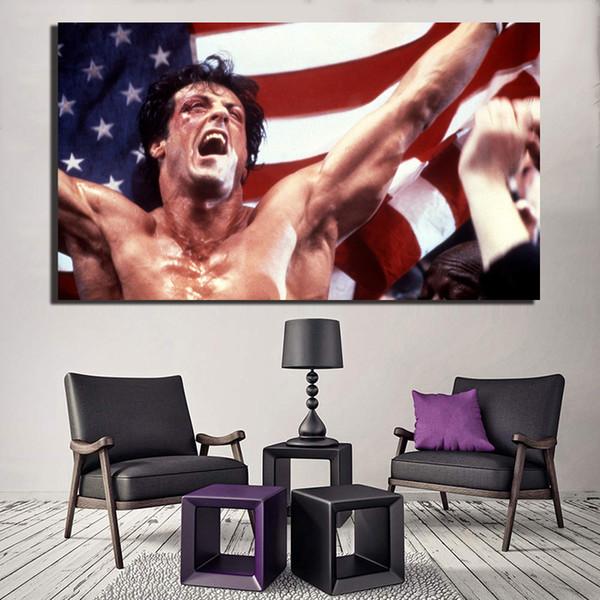 Compre Rocky Balboa Película De Motivación Canoas Pintura De La Lona Decoración Del Hogar Moderno Arte De La Pared Pintura Cartel De Imagen Para La