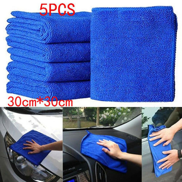 5Pcs Blue Soft Absorbent Wash Cloth Car Auto Care Microfiber Cleaning Towels May14 Drop Shipping