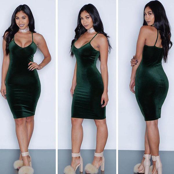 Sex mit V-Ausschnitt Riemchen legerer Kleidung Damen Sex Bodycon Kleidung Freier Verschiffen reizvolle Velour Kleider