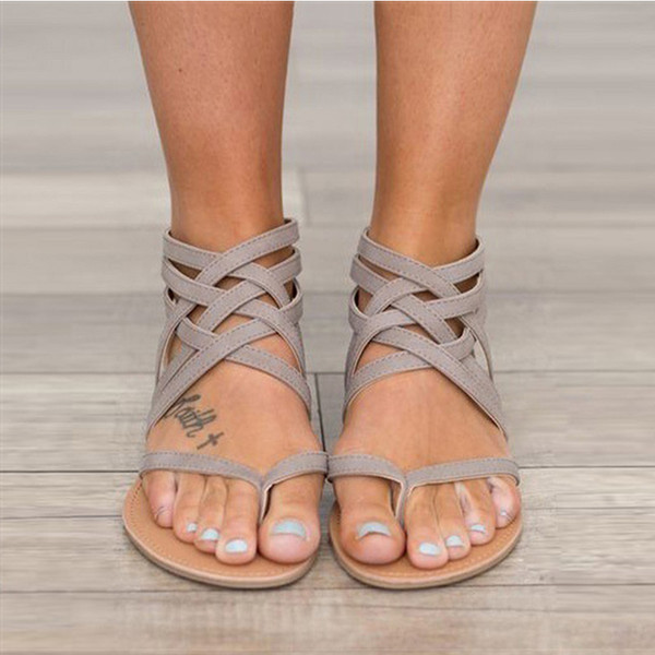 Women Sandals Fashion Gladiator Sandals For Women Summer Shoes Female Flat Rome Style Cross Tied Shoes 43