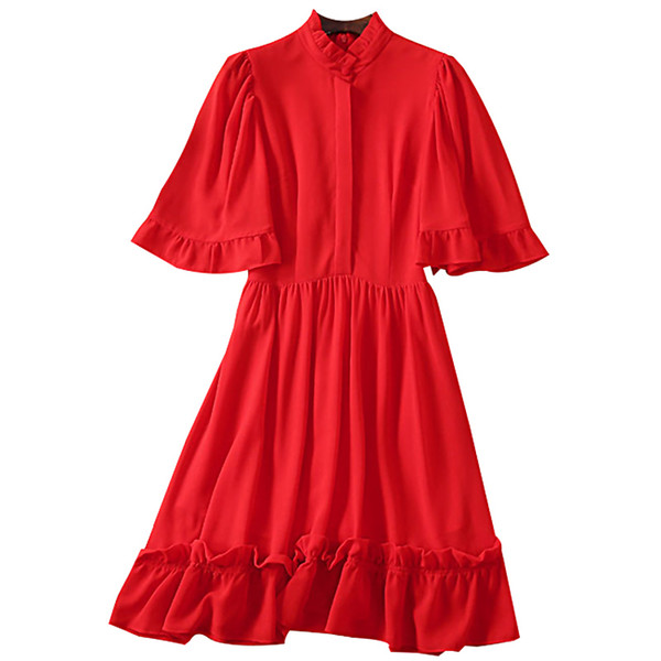 2019 Summer Elegant Party Dinner Woman Dress Red and Black A-Line Stand Collar Short Batwing Sleeve Draped Border Design Dresses