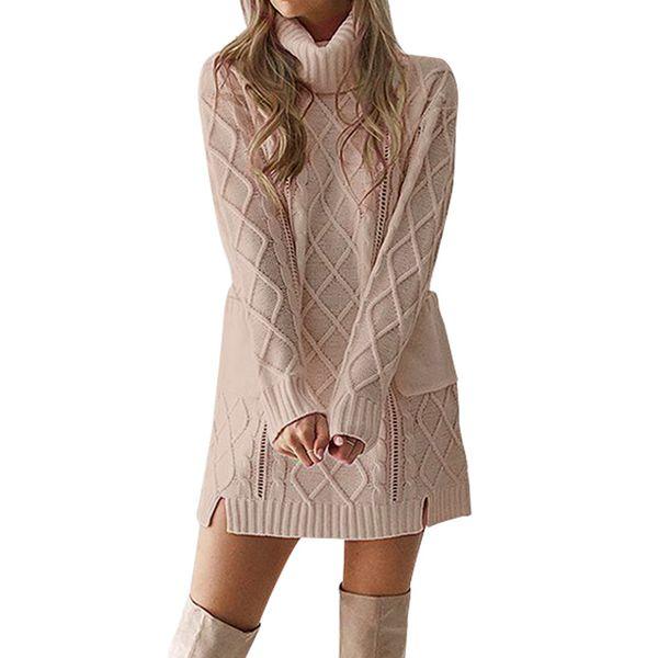 2019 NEW Women Winter Sweater Knit Turtleneck Warm Long Sleeve Pocket Sexy Mini Dress sous pull femme #L30