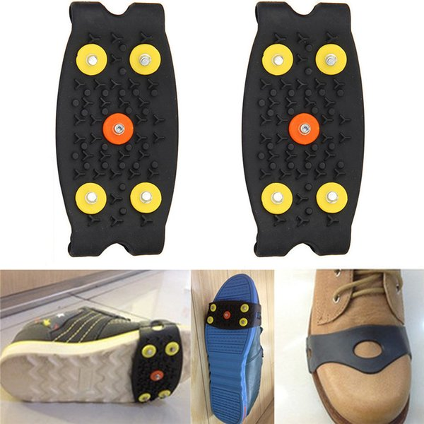 2018 Anti Slip Ice Climbing Spikes Grips Crampon Cleats 5-Stud Shoes Cover Safety & Survival Climbing Boots Accessories 4a