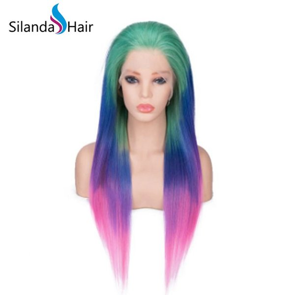Silanda Hair Dyed Ombre Color Green Blue Pink Straight Brazilian Remy Human Hair Lace Front Full Lace Wigs Free Shipping