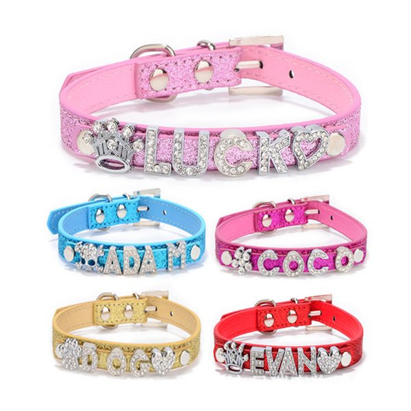Leather Bling Personalized Dog Collar Can Be Made With Rhinestone Buckle DIY Letter Name Pet Puppy Cat Collars Pet Supplies