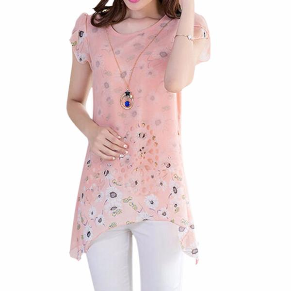 Estate stile coreano donne O-Collo Tops lungo orlo asimmetrico chiffon camicia Blusas signora Elegant stampa floreale Camicetta