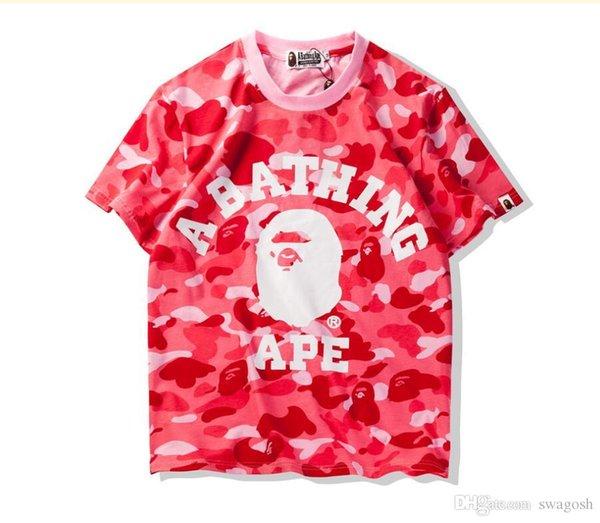 Camuflaje del verano del tiburón azul remiendo T-Camisa de Hip Hop casual deporte al aire libre T-Camisa