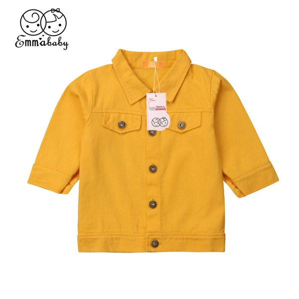 Baby Girls Coat Toddler Kids Denim Jacket Children Outerwear Yellow Top Turn-down Collar Coat Jacket Girl Clothes