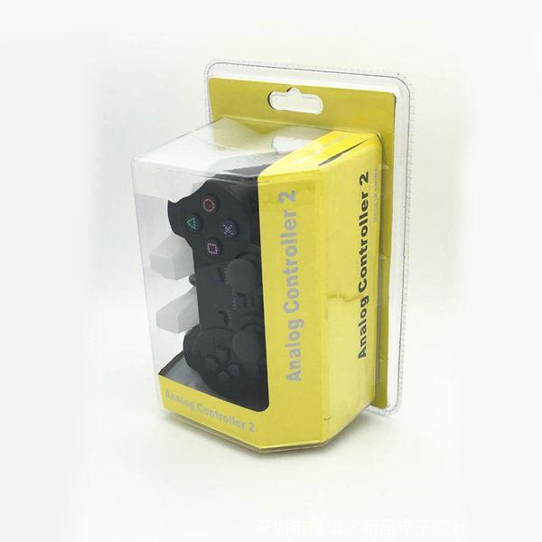 Cableado doble Vibrador Shock Controller Gamepad Compatible para Playstation 2 Consola PS2 Videojuegos Black Retail Packaging