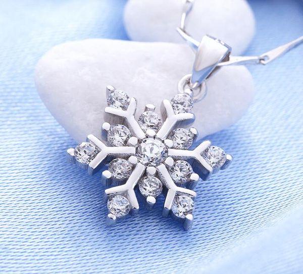 925 Sterling Silver Snowflake pingente de colar com cristal luxuoso encanto colares Presente de Natal Moda Declaração Jóias