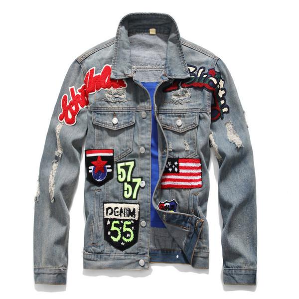 Slim Fit Jaquetas Jeans com Buraco Homens Outono Outerwear Hip Hop Casacos de Manga Longa Designer Tamanho M-3XL