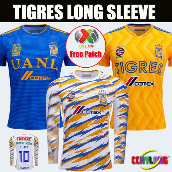 Thailand New UANL Tigres Third Long Sleeve Soccer Jersey 2018 2019 Mexico Club 18/19 GIGNAC 10# Men Women Home Away Football Shirts