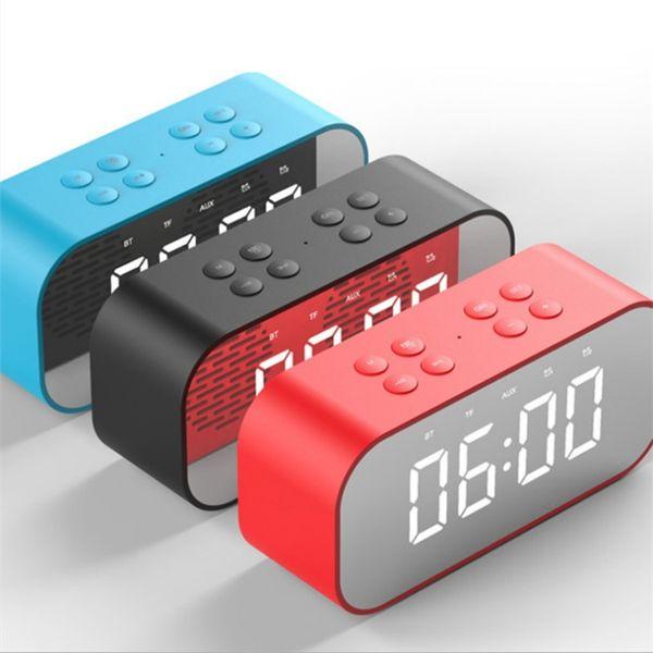 BT501 LED Bluetooth Mini Speaker with Mirror Wireless Stereo Sound Box Clock Loudspeaker Alarm Clock for PC Laptop Phone