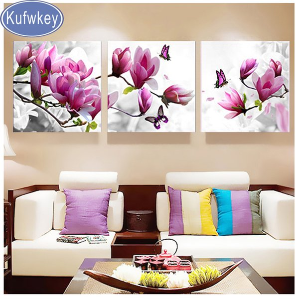 triptych vertical,Diamond picture Diamond Embroidery Magnolia flower Diamond Painting full square round mosaic diamond Pattern