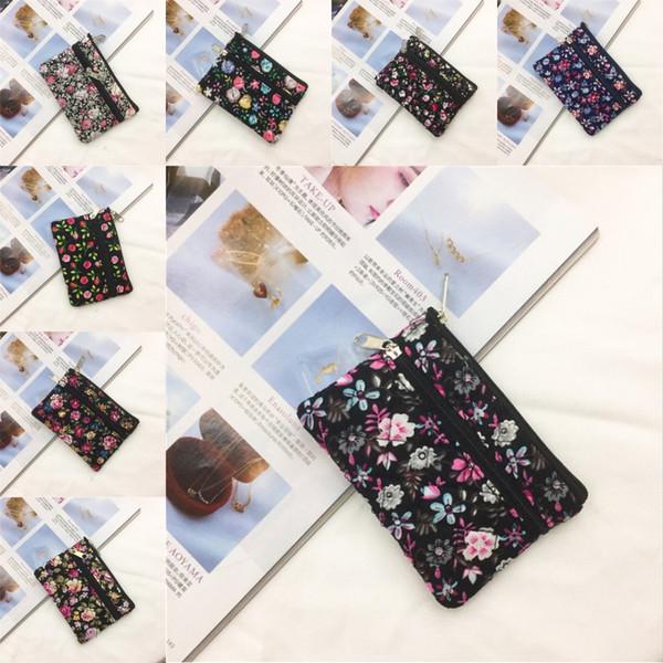 201910 Sıcak Satış Mini Pamuk Çiçek Desen Kart Paketi Cüzdan Taşınabilir Küçük Bez Cüzdan Kadınlar Moda Küçük Taze Tuval Kart Çanta M646A