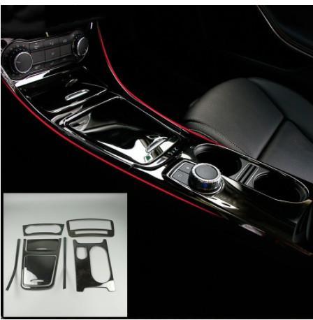 Console noire Garniture décorative en acier inoxydable Conditionneur d'air Boîte de rangement CD Panneau de couverture bandes pour Mercedes Benz Classe A GLA CLA