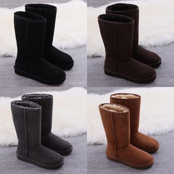 2019 Nueva WGG Fshion de la rodilla botas de cuero del suéter de los cargadores del tobillo Australia clásico de la marca para mujer The Black Tie Lana Negro Gris Azul nieve del invierno