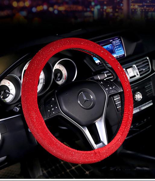 Produits pour l'intérieur de voiture strass diamant quatre saisons générale Corée fashion ladies couvre-volant avec ensemble de poignée de forage