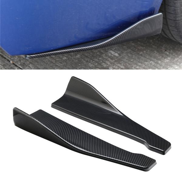 2 piezas 48 cm de fibra de carbono Spoiler de coche Difusor de ángulo de labio trasero Difusor Anti-choque modificado Faldones laterales de carrocería Faldones oscilantes