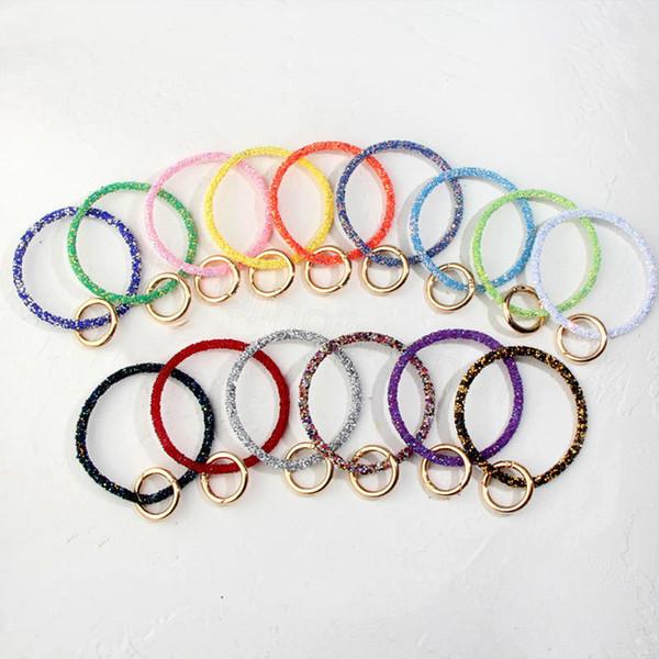 9styles Sequin Silikon Keychain Diamant-Armband-Silikon-Handgelenk-Schlüsselring-Schlüsselring-Frauen-Kreis Armband Schlüsselanhänger Ring-Handgelenk-Bügel FFA3188
