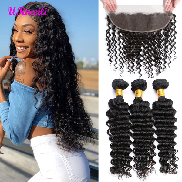 Deep Wave Virgin Hair Bundles With Frontal 13x4 Lace Frontal With Dhgate Brazilian Hair Weave Bundles Remy Human Hair Bundles With Frontal
